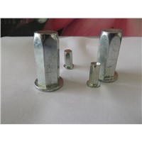 China carbon steel(iron) flat head hexagon blind rivet nuts