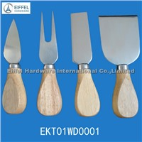 Hot sale Cheese set with wood handle (EKT01WD0001)
