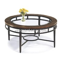Hand-Hammered copper/Metal/Glass Round Cocktail Table