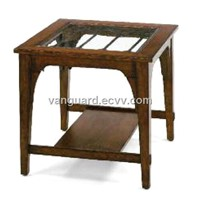 Wooden/Veneer/Glass/Metal Square End Table