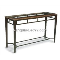 Hand-Hammered copper/Metal/Glass Sofa table