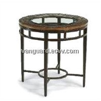 Hand-Hammered copper/Metal/Glass Round End Table
