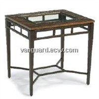 Hand-Hammered copper/Metal/Glass Rectangle Table