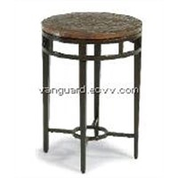 Hand-Hammered copper/Metal/Glass Chair Side Table