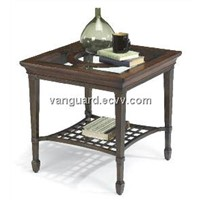 Wooden/Metal/Glass Square End Table