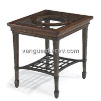 Wooden/Metal/Glass Rectangle End Table