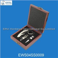 4PCS Wine set in wood box( bottle opener & drip ring& wine pourer&wine stopper)EWS04SS0009