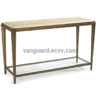 Metal/Travertine/Glass Stone Sofa Table