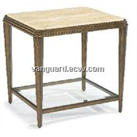 Metal/Glass/Travertine Stone Rectangle End Table