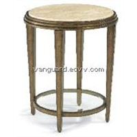 Metal/Glass/Travertine Stone Round Accent Table