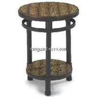 Metal/Wooden Round Accent Table