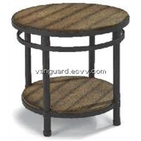Metal/Wooden Round End Table