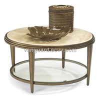 Metal/Travertine/Glass Round Cocktail Table