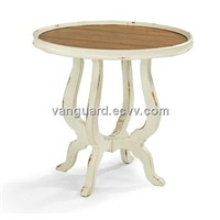 Solid wood/Plank Top Round End Table