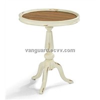 Solid wood/Plank Top Round Accent Table