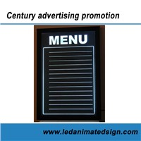 Indoor advertising acrylic led writing board for restaurant