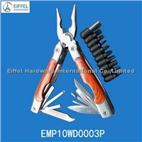 High quality & Big size wood handle plier with 9 bits/closed size11cm L (EMP10WD0003P)