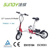 "12"" Shimano Gear Mini Folding Electric Bicycle e bike-Red"