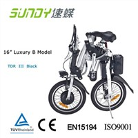 "16"" Shimano Gear Folding Electric Bicycle-Black"