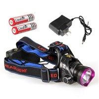 Cree XM-L T6 1000LM LED Headlight Head Light Lamp+2XBattery+Charger