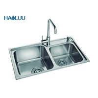 Double Bowl Kitchen Sink Made by Stainless Steel 1mm thick HL61205