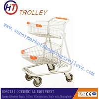 Grocery Cart With Two Metallic Mesh Baskets Shopping Trolley