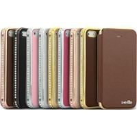Metal Bumper With Rhinestone Inlaid PU Leather Case for iPhone5/5S