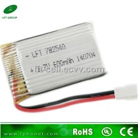 rechargeable battery 782540 3.7v 600mah li-ion battery for lipo rc helicopter battery