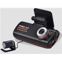 Popular delicated design HD dual lens car camera recorder  DVR G7-B with TF card up to 32GB