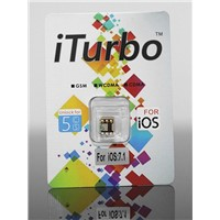 new thin iturbo unlock sim card for iphone 5s 5c all carrier ios7.1.2 work well