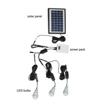 LV001 Cheap Solar Light Outdoor with 3 LED Bulbs and Solar Panel for Home, Camping and Garden