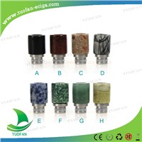 Made in China 510/901 808d coloful  jade stone Wide bore drip tips