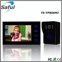 Handfree 7'' color TFT LCD Electric lock-control apartment wired video door phone intercom system