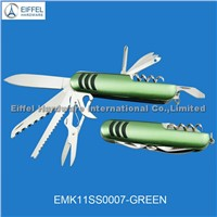 Promotional multi knife with green handle (EMK11SS0007-green)