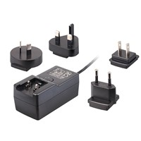 Universal 18W/24V/0.63A Interchangeable Plugin AC/DC Travel Adapter, USA/EU/AU/UK Plugs