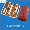 Hot sale Stainless steel manicure tools with red case (EMS05SS0017)