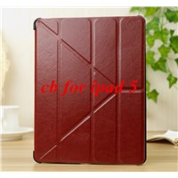 New crazy horse line pattern Transformers style stand leather case for iPad Air