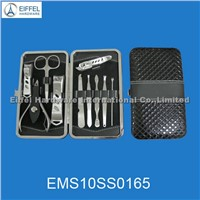 High quality stainless steel 10pcs manicure set in black and red case(EMS10SS0165)