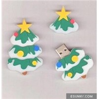 Promotional PVC Christmas Tree USB Flash Drive Pendrive For Gift