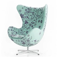 Fiberglass Fancy Fabric & GeniuineLeather Egg Chair/Ane Jacobsen Egg Chair