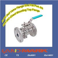 2-PC Ball Valve Flange End Full Port JIS 10K ISO Direct Mounting Top Flange