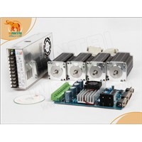 4 Axis CNC Kits Nema 23 stepper motor 3V 3A 1.35N.m 6 lead + drive board + power supply
