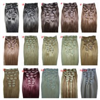 "18""-24"" 120g/pcs straight clip in hair extensions hair pieces accessories 15 colors more optional"