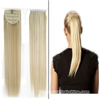 High Quality Virgin Wrap Around 100% Human Hair Straight Ponytails Hair 70g/ Piece