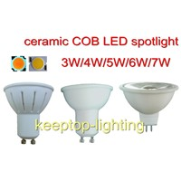 China supplier various ceramic COB LED spotlight, LED 3W/4W/5W/6W/7W ceiling spot light MR16 GU10