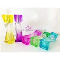 Colored Glass Perfume Bottle With Cap and Pump