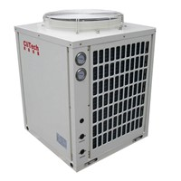 Air heating cooling system with heat pump high COP