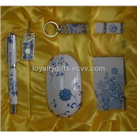Blue and white porcelain USB flash disk and mouse Gift kit