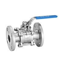 DIN Pn16/Pn40 3PC Ball Valve Flanged End