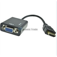New HDMI Male to VGA With Audio HD Video Cable Converter Adapter 1080P for PC